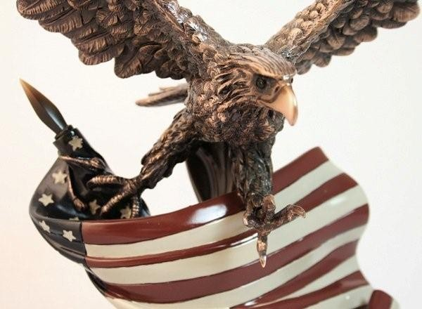 Eagle Sculpture with Flag