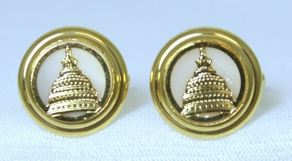 Pearl Etched Capitol Cufflink