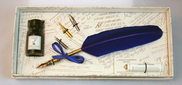Historic Quill Pen Set - Blue