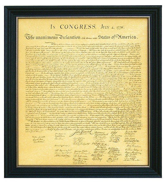 Framed Declaration of Independence