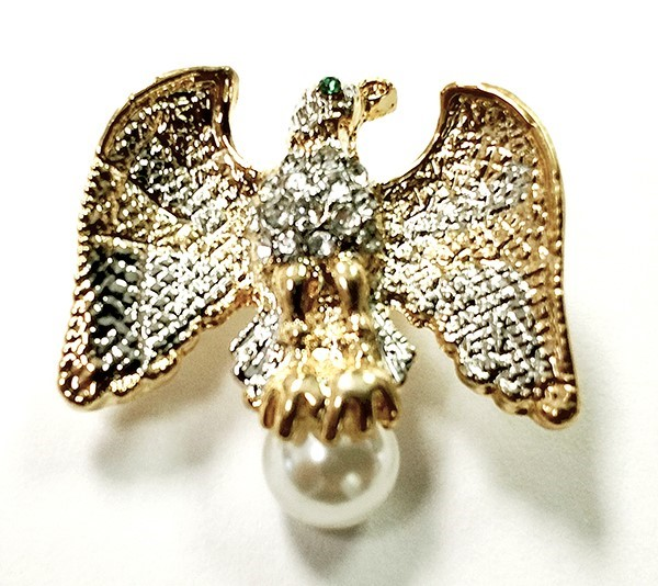 Petite Rhinestone Eagle Brooch with Pearl