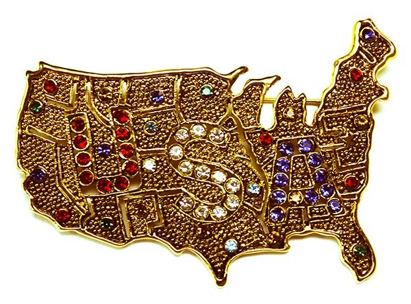 USA Map Brooch