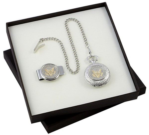 JFK Pocket Watch and Money Clip Set